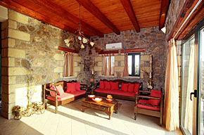 Smart modern decor and furnishings with traditional Cretan stone and wood construction